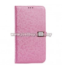 Samsung Galaxy Mega 6.3 Ultra Slim Crystal Veins Flip Case - Pink
