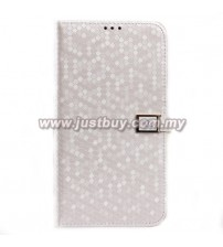 Samsung Galaxy Mega 6.3 Ultra Slim Crystal Veins Flip Case - White