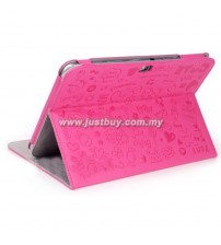 Samsung Galaxy Note 10.1 N8000 Korea Cute Design Leather Case - Pink