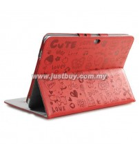 Samsung Galaxy Note 10.1 N8000 Korea Cute Design Leather Case - Red