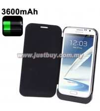 Samsung Galaxy Note 2 3600mAh External Battery Flip Case - Black