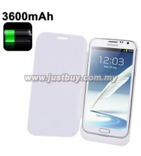 Samsung Galaxy Note 2 3600mAh External Battery Flip Case - White