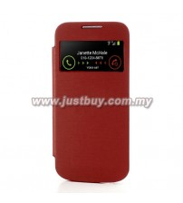 Samsung Galaxy S4 Mini OEM S-View Flip Cover - Red