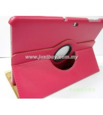 Samsung Galaxy Tab 10.1 P5100 & P7500 360 Degree Rotation Leather Case - Rose Red