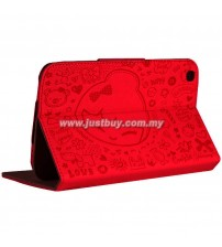 Samsung Galaxy Tab 3 7.0 Cute Pattern Leather Case - Red