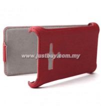 Sony Xperia Acro S Premium Leather Case - Red